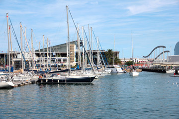 beautiful yacht in the sea port of Barcelona Spain