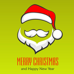 Santa Claus hipster style face on green, vector illustration