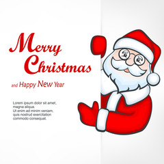 Santa Claus behind white blank sign