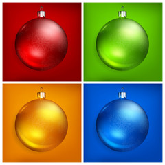 Red Christmas balls on color background, vector illustration