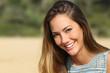 Leinwandbild Motiv Woman with a white teeth smiling