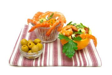 vegetable salad, shrimp and olives on a white background