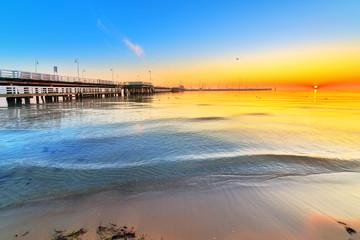 Sunrise at Baltic sea in Sopot, Poland