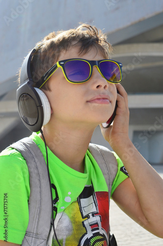 canvas print picture Teen boy with headphones