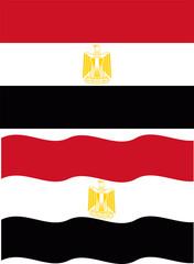 Flat and waving Egyptian Flag. Vector