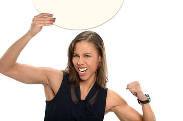 Businesswoman Holding Circular Sign