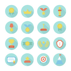 Award icons. Vector colorful set of prizes and trophy signs.
