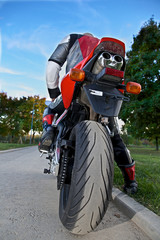 man on a red motorcycle, rear view