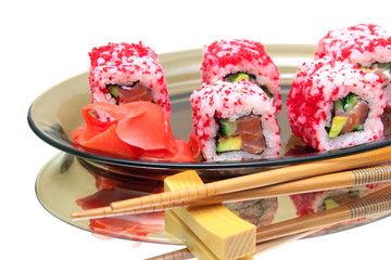 Japanese cuisine - rolls with salmon and avocado.