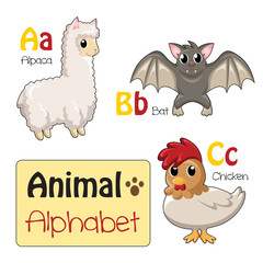 Alphabet animals from A to C