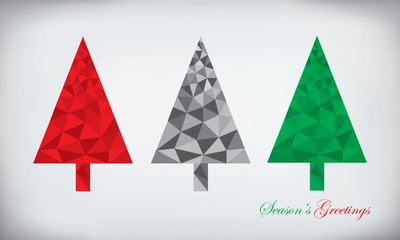 Origami style polygonal paper abstract christmas tree