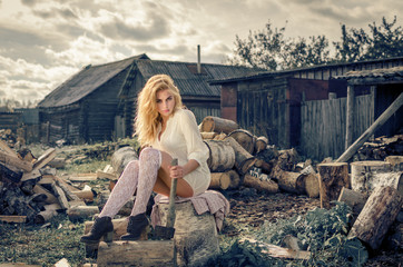 Girl not background firewood