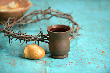 Wine, Bread and Crown of Thorns