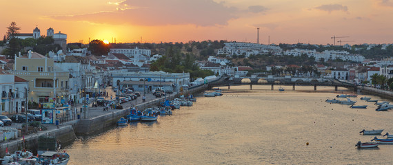 Panorama from Tavira ar sunset. Algarve,Portugal
