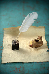 Inkwell and Ancient Lamp