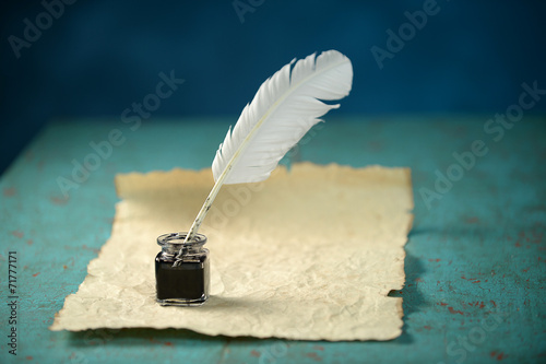 Writing Inkwell, Feather and Paper - 71777171
