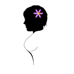 girl illustration with flower in head