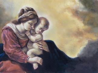 olio su tela di una giovane donna e il suo bambino
