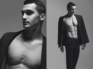 Male beauty concept. Dual portrait of fashionable and undressed