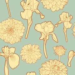 Gentle sunny autumn floral pattern