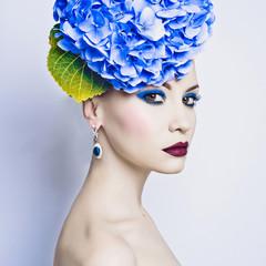 Beautiful lady with hydrangea