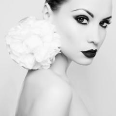 Beautiful lady with peony