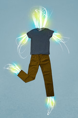 Energy beam in casual clothes concept