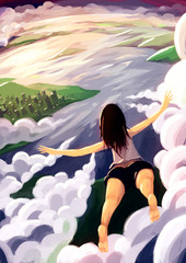 digital painting girl fly sky