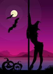 Halloween silhouette of exotic pole dancer