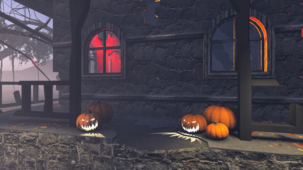 Halloween pumpkins on the porch of gloomy house 1