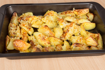 fried potatoes on a baking sheet