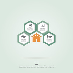 Infographic honeycomb elements with icons. Vector