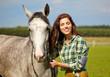 portrait beautiful woman long hair next horse