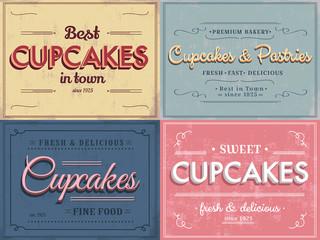 Set of vintage retro cupcakes labels