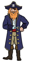 Pirate captain in dark blue coat