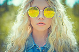 Outdoor portrait of young hippie woman - 71779578
