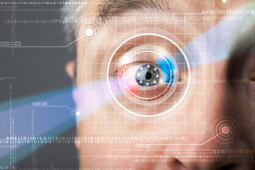 Cyber man with technolgy eye looking
