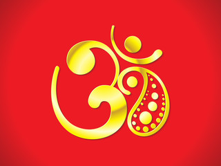 abstract golden shiny om text