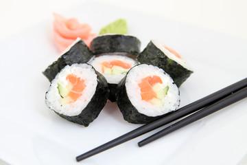 Futomaki, salmon. Traditional japanese sushi rolls