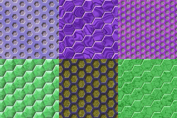 Set of hexacomb tiling seamless generated textures