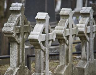 stone crosses on the cemetery