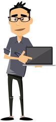 homme moderne avec ordinateur portable