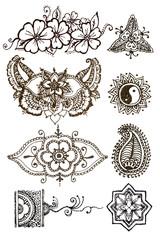 henna patterns on a white background