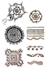 henna patterns on a white background