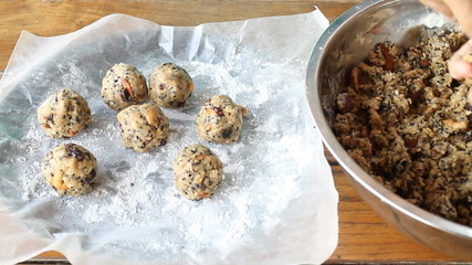 Third Step Homemade Cereal Cookies Ball, Stock Video