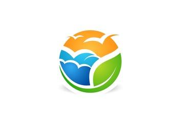 eco,nature,seagul,beach logo,landscape,clouds,birds,leaf