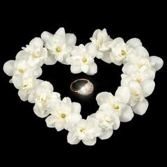Diamond Ring in Heart Made of White Jasmine Flowers