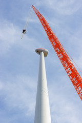 Montage der Windkraftanlage