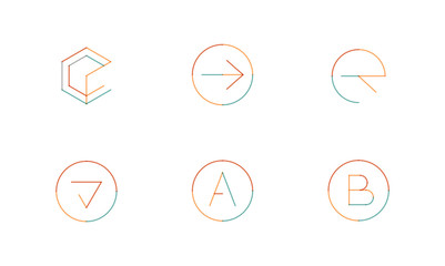 Logo set, thin line clean style