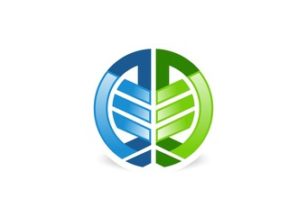 abstract logo,element geometry,tree isolated,circular lining